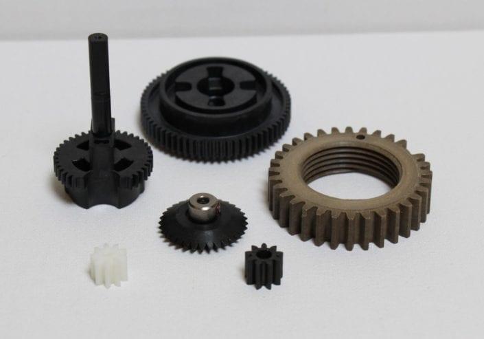 Fiber reinforced PEEK, Torlon and fluoropolymer thermoplastic gears